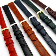 Ladies Flat Calf Leather Watch Strap Crocodile Grain 12mm 14mm D007